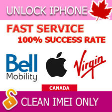 BELL VIRGIN FACTORY UNLOCK SERVICE IPHONE 4s 5 5c 5s 6 6s 6+ 6s+ SE 7 7+ 8 8+ X