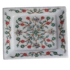 "10"" x 6"" Marble Serving Tray Malachite Hakik Floral Inlay Art Furniture Decor"
