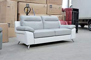 SILO 3 Light Grey & White Leather Sofa BRAND NEW / CLEARANCE C230