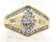 Cluster Right Hand Ring 1.00ct 6.9g 10k Yellow Gold Round and Baguette Diamond