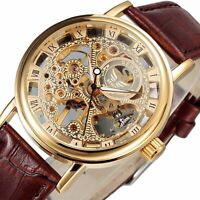 Sewor Men Golden Skeleton Watch Retro Mechanical Wind Swiss Steampunk Wristwatch