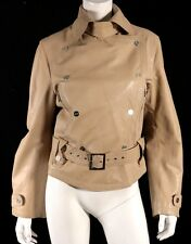 MAX MARA Nude Leather Zip & Snap Belted Motorcycle Jacket 46