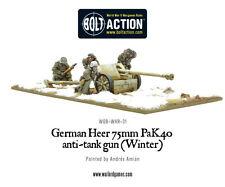 WARLORD GAMES NUOVO CON SCATOLA TEDESCO Heer 75mm PAK 40 GUN anticarro (INVERNO) wgb-whr-31