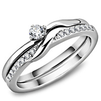 RT1 WEDDING ENGAGEMENT RING SET STAINLESS STEEL SIMULATED DIAMOND BRIDAL SIZE N
