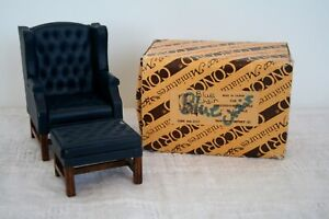 VINTAGE MINIATURE DOLLHOUSE 1:12 BLUE WINGBACK LEATHER CHAIR & FOOT STOOL W/WOOD