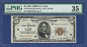 """""""KEY"""" NOTE 1929 $5 FRBN ♚♚ST. LOUIS♚♚ PMG VF 35    """"39 KNOWN""""   VERY RARE!!!"""
