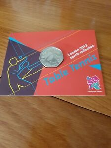 TABLE TENNIS 2012 LONDON OLYMPIC 2011 50p COIN MINT UNCIRCULATED SEALED IN CARD.