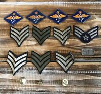 Lot of 15 Vintage 1940-50's Military Air Force Patches, Pins and Dog Tag