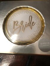 Bride Mirror Compact by Markings C.R. Gibson White Gold Dots Script