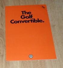 Volkswagen VW Golf Mk1 Convertible Brochure 1981 - 1.6 GLi