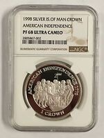 1998 Silver Isle Of Man Crown American Independence PF 68 Ultra Cameo NGC