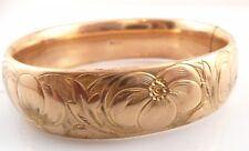 BIG Antique Victorian c. 1900 SIGNED Gold Filled Floral Design Hinged BRACELET