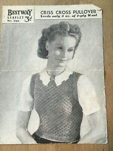 """Vintage Knitting Pattern 40s, Sleeveless Criss-Cross Pullover, 2ply 32-34"""" Bust"""