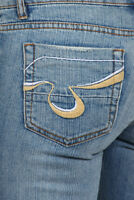 New Blue Denim Embroidered Pocket Wide Leg Bell Bottom Jeans