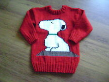 "New Hand Knitted Red Snoopy Sweater 26/28"" chest"