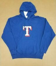 MAJESTIC TEXAS RANGERS ROYAL BLUE FLEECE PULLOVER HOODIE MEN'S SIZE LARGE NEW