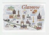 Mint Map Postcard of Glasgow by Star Editions