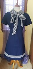 New listing Vintage 70's Schoolgirl Mod Pussy Bow Tie Navy Blue Polyester Dress Size M/L