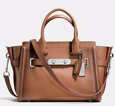 NWT❤️ $495 COACH Burnished Leather Swagger 27 Carryall Bag Saddle Brown 38372