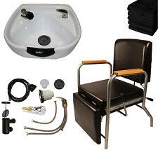 Round White Ceramic Shampoo Bowl Shampoo Chair Leg Rest Barber Salon Equipment
