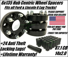 6X135 WHEEL SPACERS 1.5 INCH FITS FORD RAPTOR F-150 EXPEDITION +24 SPLINE LUGS