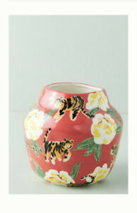 NEW Anthropologie Leah Goren Coral Tiger Small Vase Floral Sold Out Rare