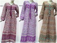 cotton floral print vintage maxi dress women's long sleeve summer dress HANDMADE