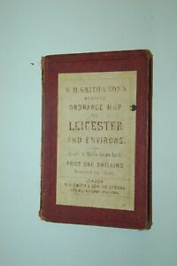 1875. W H SMITH ORDNANCE MAP. LEICESTER RUTLAND DERBY BIRMINGHAM NOTTS COVENTRY