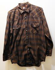 KARMAN Western Rodeo Pearl Snap Brown Plaid Shirt - Men's Size 17/34 - Very Nice