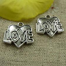 free ship 108 pieces tibetan silver love heart charms 18x17mm #3742