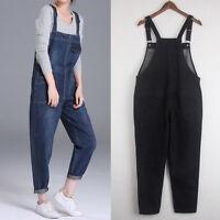 Womens Oversized Jumpsuit Strap Trousers Pants Overalls Denim Jeans Baggy Romper