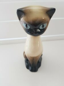 "🕊Vintage 1960s Trentham Art Ware Siamese Cat Ornament 7"" Tall # 339 Kitsch Blue"