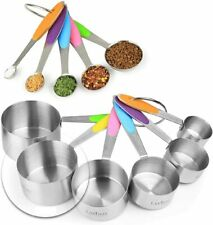 11 Piece Measuring Set Sturdy Stainless Steel Stackable 6 Measuring cups 5 spoon