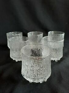 6 X VINTAGE IITTALA ULTIMA THULE SCOTCH ROCKS WHISKY GLASSES TAPIO WIRKKALA...