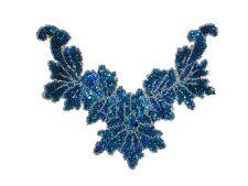 Sequin Bead Applique Belly Dance Motif Necklace Blue