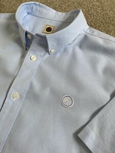 WORN ONCE PRETTY GREEN BLUE OXFORD CLASSIC FIT SHORT SLEEVE SHIRT XL