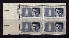 US USA Sc# 1246 MNH FVF PLATE # BLOCK President John F Kennedy Eternal Flame