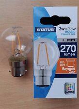 2 x 2w LED Round Clear Filament Light Bulb Lamp BC Bayonet Cap B22 Push In 25w
