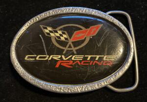 Chevrolet Chevy Corvette Racing Car Emblem Flag Logo 70s Vtg Belt Buckle