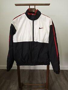 Nike Windbreaker Mens Size Medium White Tag Black White Red No pull Tab On Zip