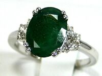 Colombian Emerald Ring 14K White gold GIA Certified Natural Diamonds App $5,814