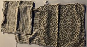 Set of Three Grey & Cream Pottery Barn Pillow Covers