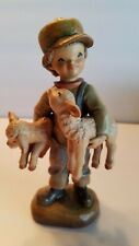 """Anri 6"""" Wood Carving """"Friendly Faces"""" Boy with lambs carved & painted in Italy"""