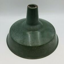Vintage Dark Green Lamp Shade Farmhouse Barn Light Porcelain Gas Service Station