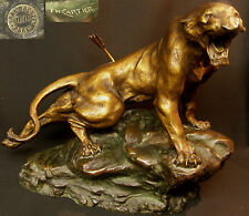 N1 1930 Th. CARTIER  bronze animalier Lionne blessée 20kg50cm statue sculpture