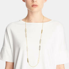 NWT COACH GOLD AND WHITE PEARL AND PAVE ID STATION  NECKLACE 99830