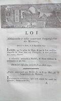 LOI additionenelle concernant l'organitation des Monnaies 8 Septembre 1791