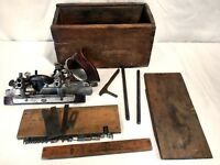 Vintage Stanley #45 combination plow beading plane original box with 21 knives