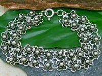 Damen Armband 925 Silber mit Blumen Blüten Länge 18cm Breite 1,5cm