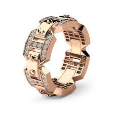 Gold Wedding Ring For Mens Size 6 Fashion Big Male Cz Zircon Stone Rose